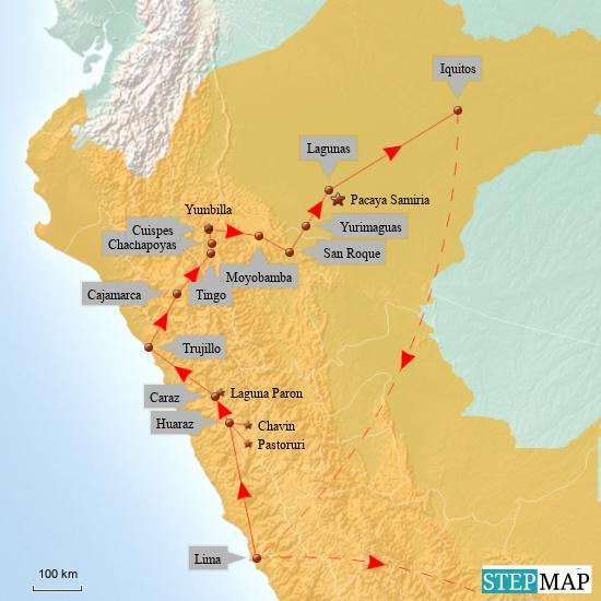 So sind wir von Lima bis Iquitos gereist. Alles über Land mit Bussen, Kleinbussen (Collectivos), gewandert  und auf den Flüssen mit Booten. Die geraden Linien täuschen hier gewaltig. Durch die hohen Berge in den Anden sind die Wege durch die Täler und über Pässe oft sehr weit. Außerdem ist der Zustand der Straßen meist  nicht mit deutschen Verhältnissen vergleichbar. Mehrere Stunden Fahrzeit für 100-150km sind ganz normal. In den Süden nach Cusco geht's jetzt aber mit dem Flugzeug, sonst reichen nicht mal die 5 Monate die wir unterwegs sein werden.