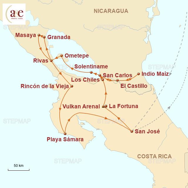 Routenkarte zur Reise Zu Besuch bei den Ticos & Nicas