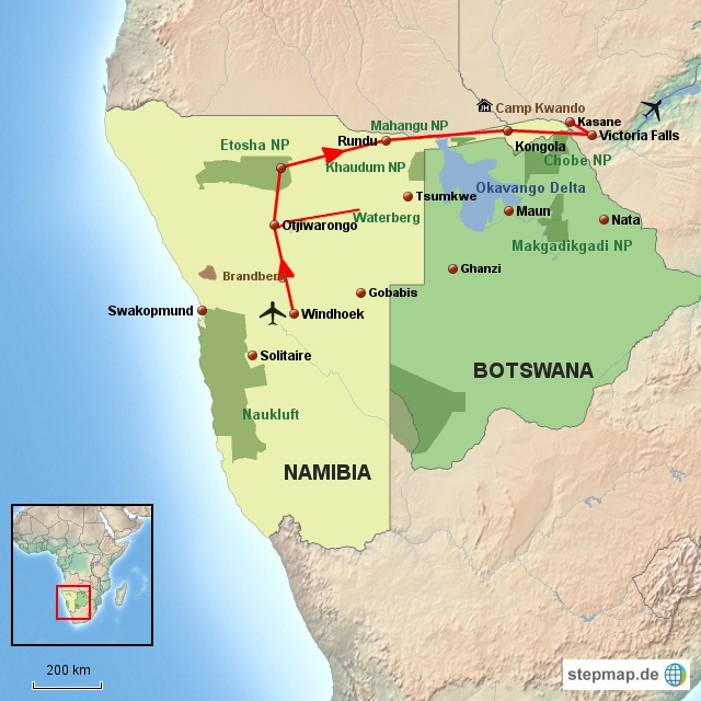 SW Windhoek nach Victoria Falls