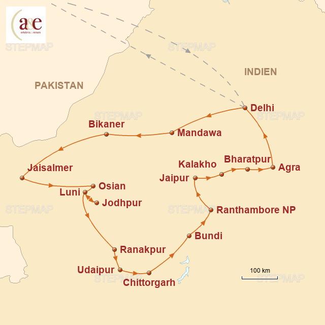 Routenkarte zur Reise Rajasthan – Paläste, Feste und die Wüste