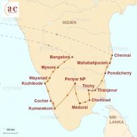 Routenkarte zur Reise Exotisches Südindien