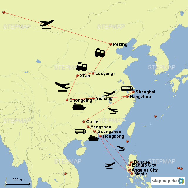 Peking -> Luoyang (Longmengrotten) -> Xi'an -> Chongqing (Yangzi Flußkreuzfahrt) -> Hangzhou (Westsee) -> Shanghai -> Yangshou (Karstlandschaft) -> Guilin -> Guangzhou (Sonderwirtschaftszone) -> Hongkong -> ab hier alleine ohne Reisegruppe Manila -> Banaue (mit privatem Reiseführer über Internet gefunden) -> Baguio -> Angeles -> Hongkong -> Frankfurt