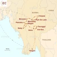 Routenkarte zur Reise Tazaungmon – Zeit der Lichterfeste