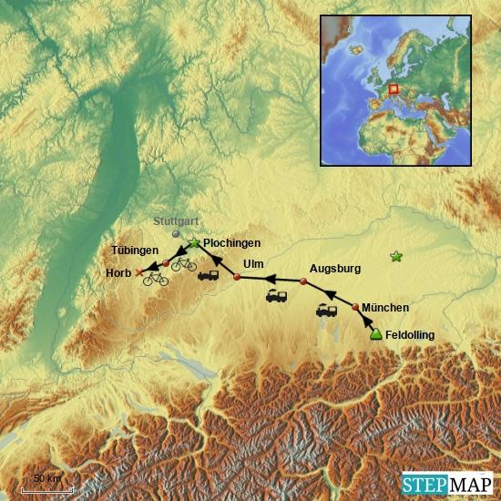 Kompletter 1. Tag mit Zuganreise nach Plochingen und von dort 1. Etappe via Tübingen nach Horb.