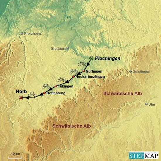 1. Rad-Etappe von Plochingen nach Horb am 21. Mai 2017 ohne Bahnanreise.