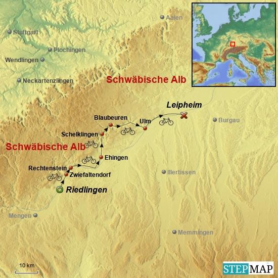 4. Etappe am 24. Mai 2017 von Riedlingen nach Leipheim über Zwiefaltendorf, Rechtenstein, Ehingen, Schelklingen, Blaubeuren und Ulm.