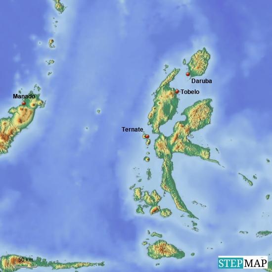 """Hier habe ich mal eine Übersichtskarte von der großen Molukkeninsel """"Halmahera"""" eingestellt-folgende Wege haben wir zurückgelegt: Manado-Daruba auf Morotai : per Flugzeug Daruba-Tobelo: per Speedboat Tobelo-Daruba: per Fähre Daruba-Ternate: per Flugzeug Ternate-Jakarta: per Flugzeug"""