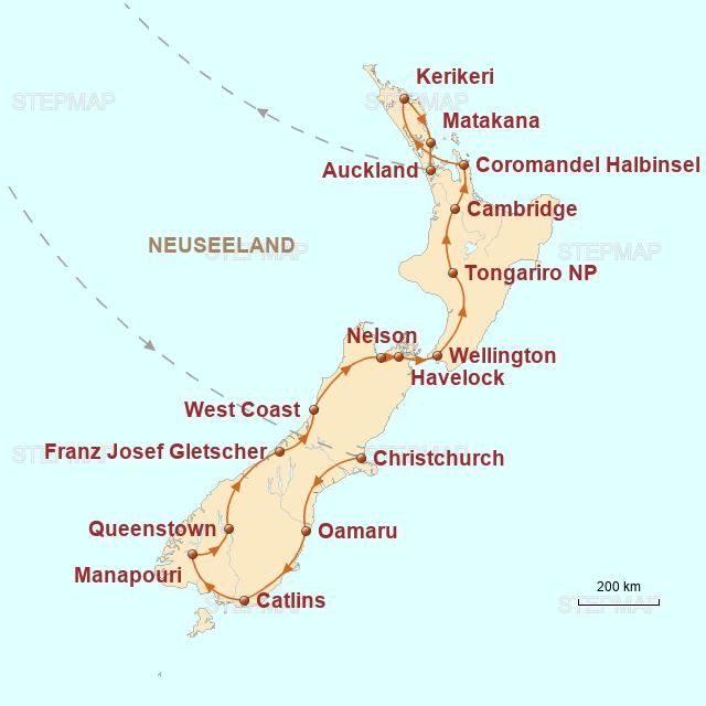 Routenkarte zur Reise Aotearoa – Familienabenteuer in Neuseeland