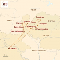 Routenkarte zur Reise Königreiche des Himalaya aktiv erleben