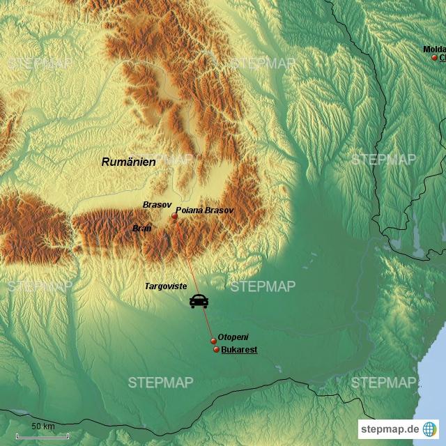 """Wir fahren mit dem Auto vom Airport """"Otopeni"""" in die Karpaten, nach """"Poiana Brasov""""--die etwa 175km lange Fahrt soll über 3 Stunden dauern..."""
