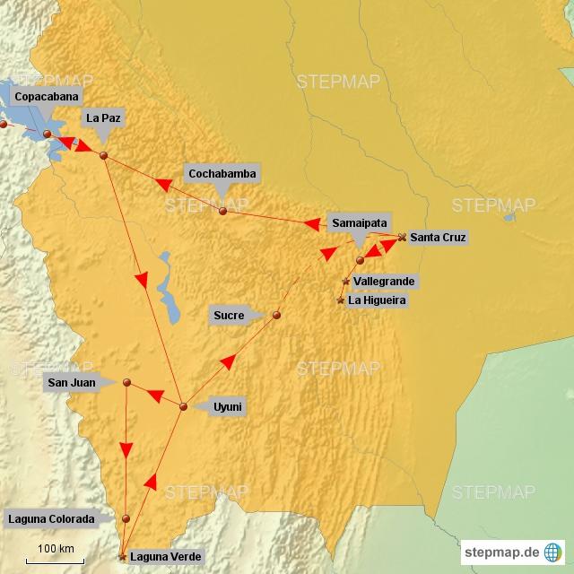 So sind wir durch Bolivien gereist. Den größten Teil mit Bussen und einmal mit dem Flugzeug. Busse sind in Bolivien das Haupttransportmittel und es gibt jede Menge Busunternehmen. Bei der 3-Tages-Tour von Uyuni aus haben wir auch eine große Strecke im Geländewagen zurückgelegt. Jetzt geht's wieder nach Peru in den Südwesten.