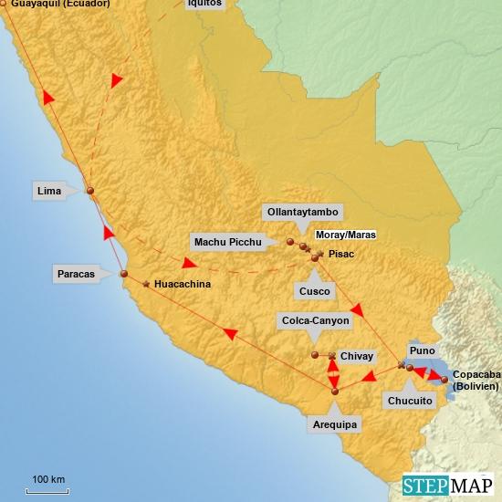 Unsere Route durch den Süden Perus