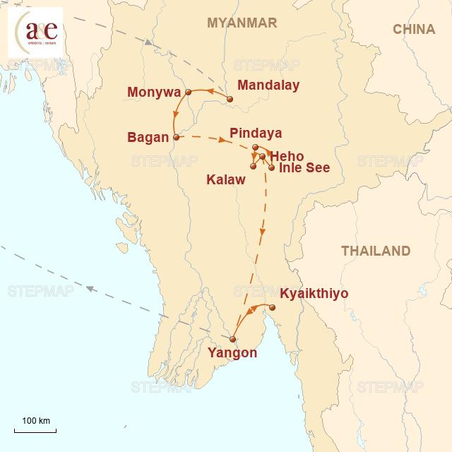 Routenkarte zur Reise Ursprünglichkeit Asiens