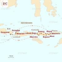 Routenkarte zur Reise Flores mit Komodo-Nationalpark & Lombok