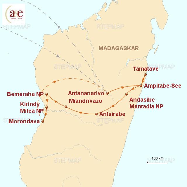 Routenkarte zur Reise Im Land der Baobabs
