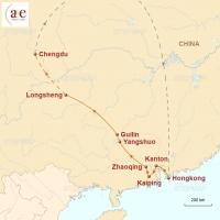 Routenkarte zur Reise Südchinas Perlen