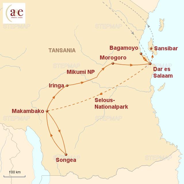Routenkarte zur Reise Kultur und Safari pur!