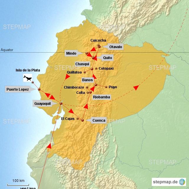 """Unsere Reiseroute durch Ecuador folgte weitesgehend der """"Straße der Vulkane"""" mit kleinem Abstecher ans Meer. Wir haben nur einen kleinen Teil des Landes gesehen und werden nochmals, verbunden mit Kolumbien, wiederkommen."""