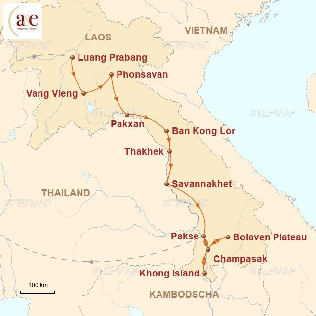 Routenkarte zur Reise Vielfalt Laos