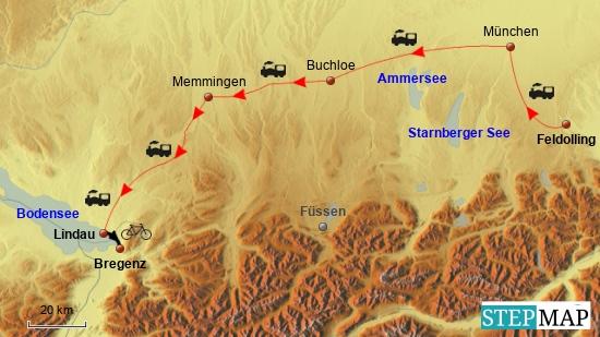 Anreise per Bahn am 13.6.17 nach Lindau und anschließende erste Kurzetappe nach Bregenz.