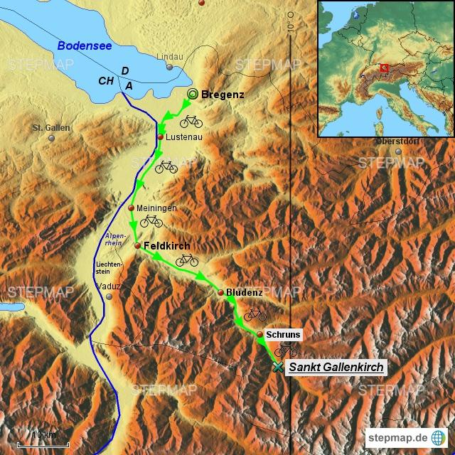 2. Etappe am 14.6.2017 von Bregenz am Alpenrhein und der Ill entlang nach St. Gallenkirch.