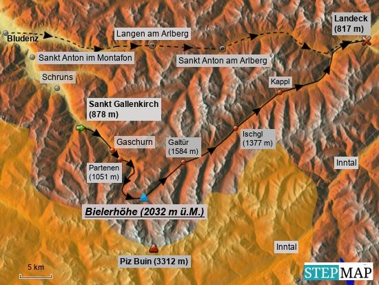 Am Donnerstag, den 15.6.2017 verläuft die Radstrecke von St. Gallenkirch im Hochmontafon (Vorarlberg) (grüner Startpfeil) über die Bielerhöhe, dem höchsten Punkt dieser Radferntour und zugleich persönlicher Rekordhöhe mit dem Rad, nach Landeck in Tirol. Im oberen Bildbereich gestrichelt angedeutet, der Verlauf der vielbefahrenen Arlbergstrecke. Dort verläuft auch die Eisenbahnlinie der Ost-West-Magistrale in Österreich, die zwischen St. Anton am Arlberg und Langen am Arlberg im 10648 m langen Arlberg-Eisenbahntunnel verläuft. Der Schnellstraßen-Tunnel mit knapp 14 km Länge verläuft dazu parallel. Nochmals auf den Punkt gebracht: Im Vergleich der beiden Streckenführungen von Bludenz, das ich vortags in Richtung St. Gallenkirch durchfuhr, in Richtung Landeck, war über die Bielerhöhe der UMWEG das ZIEL !   ) In oranger Farbe markiert ist übrigens hier Schweizer Staatsgebiet.