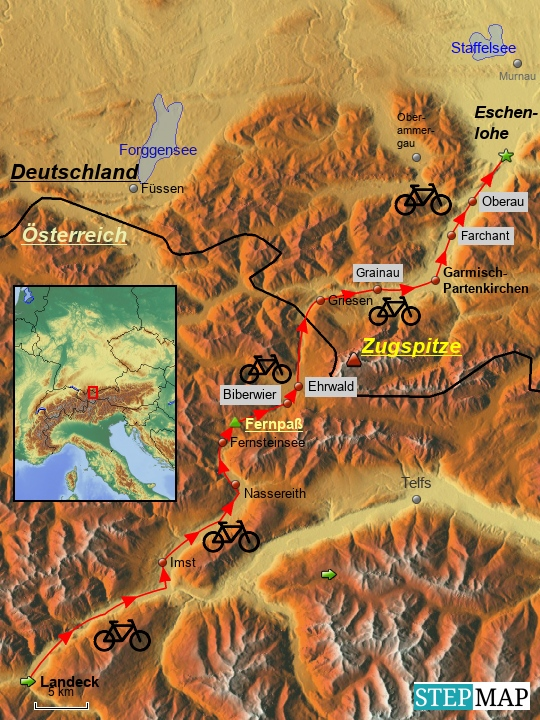 Am Freitag, den 16.6 2017 verläuft die Strecke von Landeck in Tirol über Imst, Nassereith, den Fernpaß, Ehrwald, von dort an der Loisach entlang über Grainau, Garmisch-Partenkirchen, Farchant und Oberau nach Eschenlohe. Von Landeck bis unterhalb von Imst parallel zur Radstrecke und dann entlang der breiten Talebene über Telfs verläuft das Oberinntal über der eingezeichneten Ortschaft Telfs weiter zur nicht mehr im Kartenbereich erfassten Tiroler Landeshauptstadt Innsbruck.