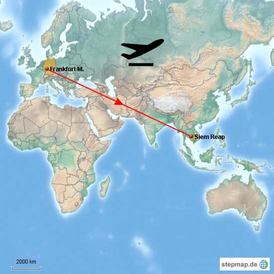 der interconti-Flug ... von Frankfurt über Bangkok nach Siam Reap