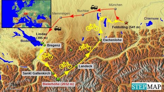 Gleich anfangs mal der grobe Überblick des Tourverlaufs. Die detaillierteren Kartenausschnitte der einzelnen Etappen erscheinen dann jeweils am Ende deren Beschreibungen.