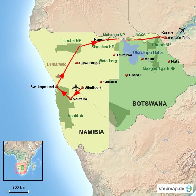 SW Namibias Norden mit Caprivi Streifen