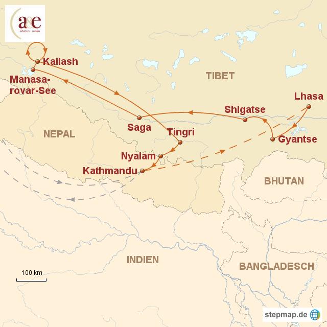Routenkarte zur Reise Von heiligen Stätten zu heiligen Bergen