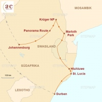 Routenkarte zur Reise Krüger & KwaZulu-Natal