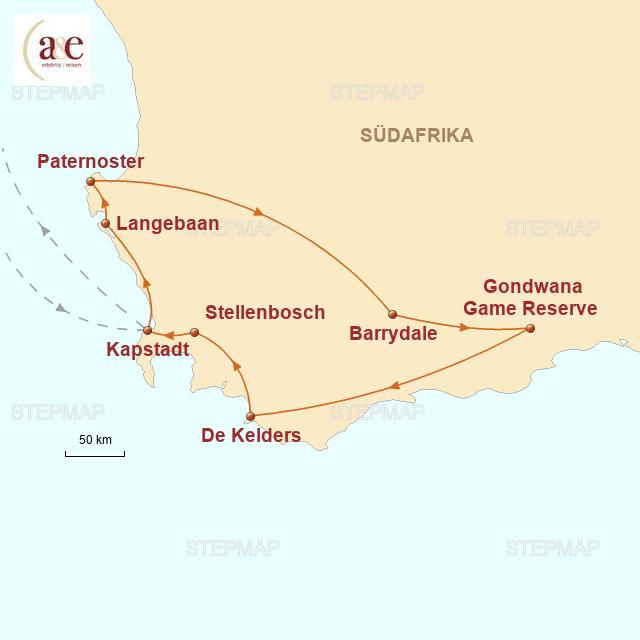 Routenkarte zur Reise Die Kap-Region überraschend anders