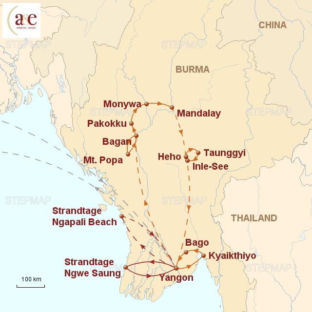 Routenkarte zur Reise Tazaungmon – Zeit der Lichterfeste 2017