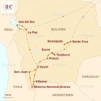 Routenkarte zur Reise Naturwunder Boliviens
