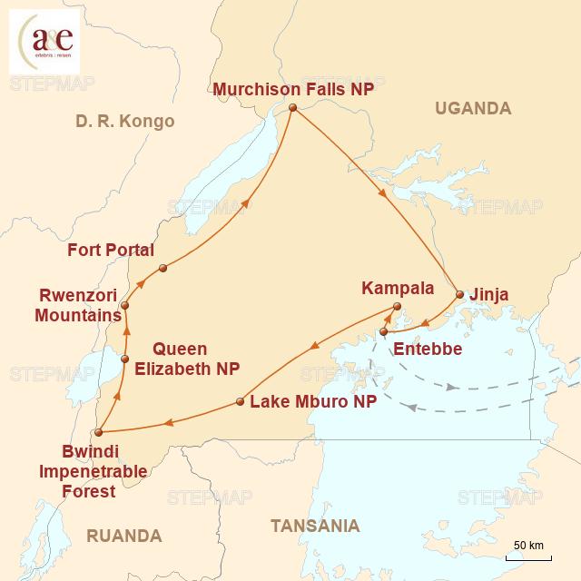 Routenkarte zur Reise Begegnung mit den Berggorillas