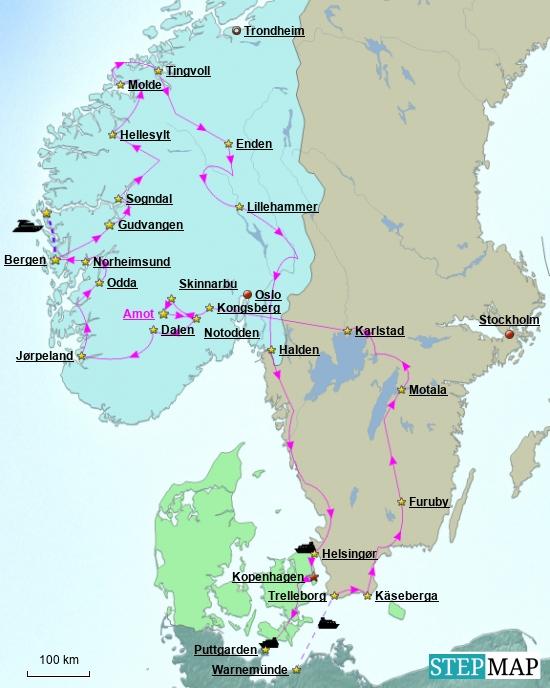 """Karte zeigt den groben Reiseverlauf und unsere Übernachtungsplätze, die wie im letzten Jahr keine Campingplätze sind, sondern zu 95 % """"wilde"""" Stellen. In den wenigen Städten, die wir anfuhren, natürlich offizielle Stellplätze. Amot in der Telemark, ein Ort mit besonderer Bedeutung."""