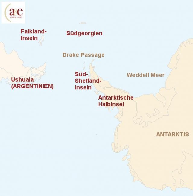Routenkarte zur Reise Antarktische Halbinsel & Südshetlandinseln