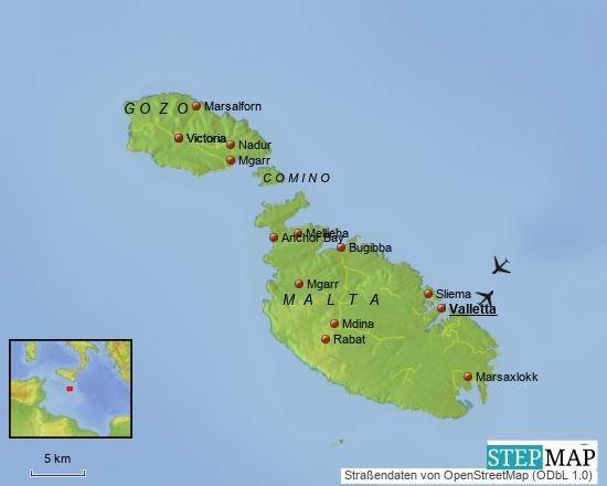 Malta befindet sich ca. 80 km südlich von Sizilien, die Hauptstadt Valletta liegt südlicher als Tunis