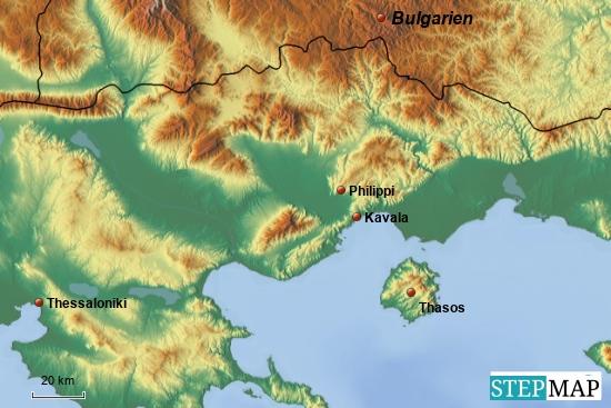 Unsere möglichen Ausflugsziele: Philippi und die Insel Thassos