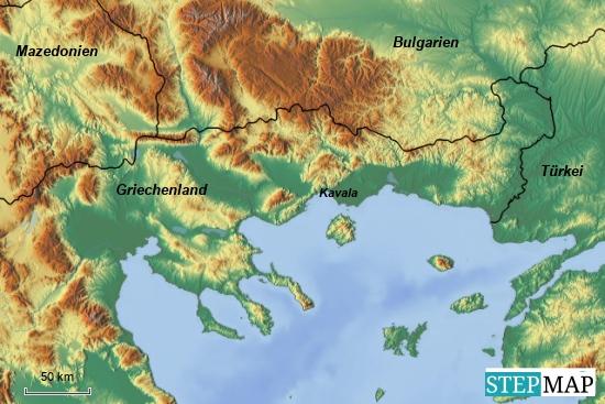 Griechenland mit den Nachbarländern