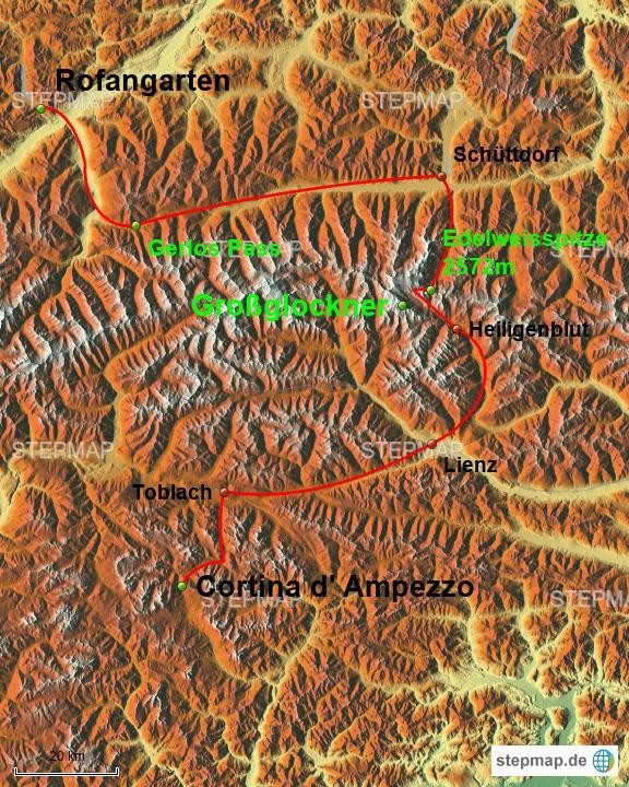 Route vom 4. Fahrtag. von Cortina über den Großglockner zum Achensee