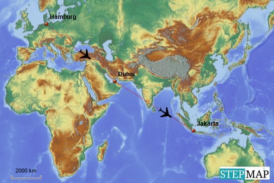 Die Anreise von Hamburg über Dubai nach Jakarta