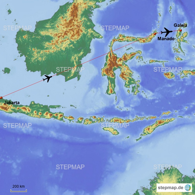 Dann geht es weiter, von Jakarta nach Manado auf Sulawesi und nach Galela auf Halmahera.