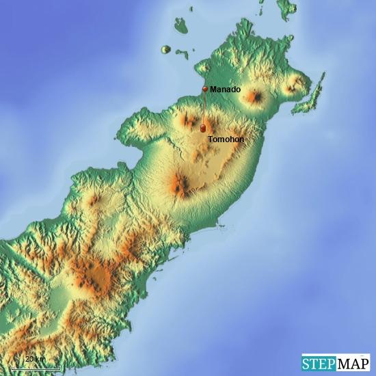 Meine Tour für heute: Fahrt vom Airport Manado in die Berge nach Tomohon