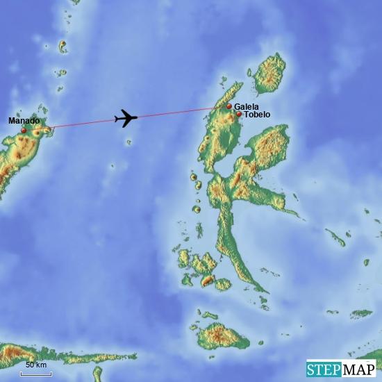 Meine Flugroute für heute nach Halmahera zum Airport Galela und nach Tobelo