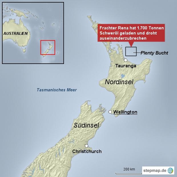 Riesige Ölpest droht vor Neuseeland