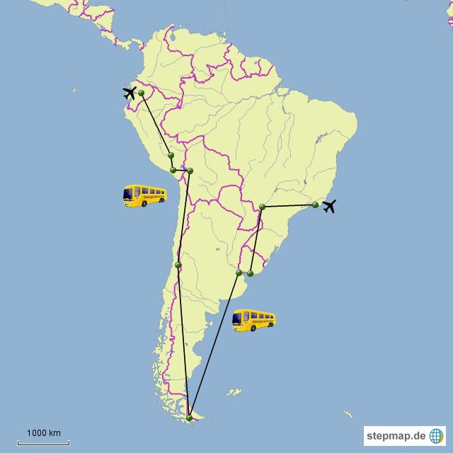 Die Karte zeigt die geplante Route durch die Länder südlich des Äquators (Ecuador, Peru, Bolivien, Chile, Argentinien, Uruguay und Brasilien). Hauptverkehrsmittel wird der Bus sein und wenn die Möglichkeit besteht die Eisenbahn. Änderungen oder Abkürzungen sind natürlich jederzeit möglich. Manchmal streiken nämlich die Busfahrer   und dann sitzt man fest und wartet und wartet und wartet....