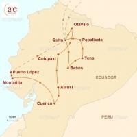Routenkarte zur Reise Land der Vulkane
