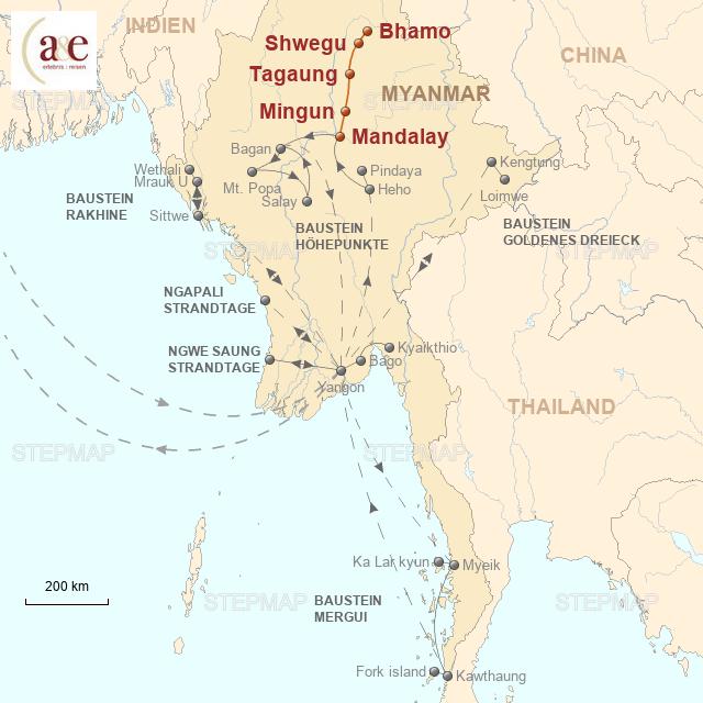 Routenkarte zur Reise Irrawaddy-Flussfahrt auf der Amara (Mandalay - Bhamo)